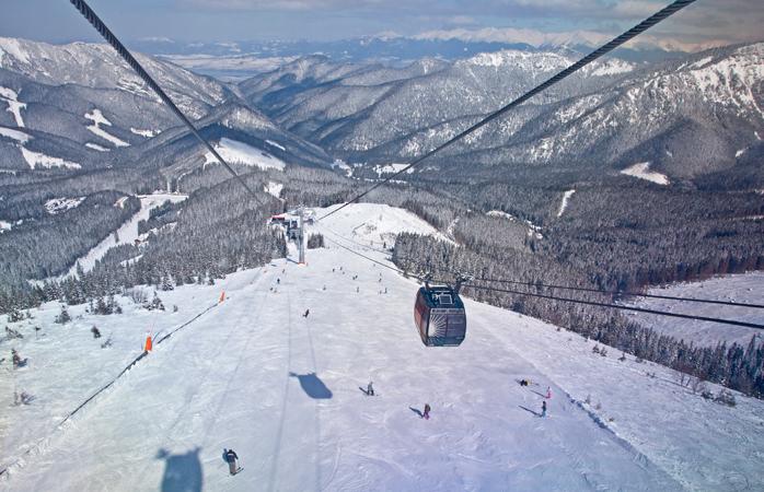Vârful Chopok din Jasna, Slovacia este zilnic străbătut de-acest modern funicular